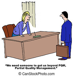 Partial Quality Management - Business cartoon of leader...
