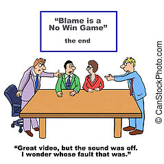 Blame Game - Business cartoon around the negative practice...