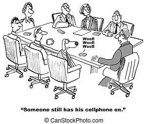 Cellphone - Business cartoon of business meeting and a...