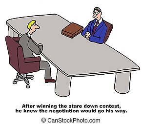 Negotiation - Business cartoon about negotiations and stare...