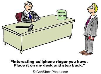 Irritating Cellphone Ringer - Business cartoon about an...