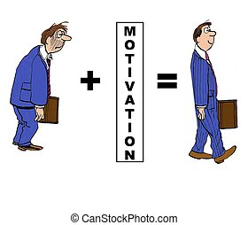 Motivation - Business cartoon showing the positive impact of...
