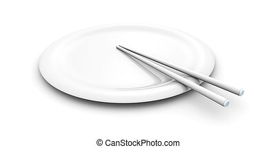 Asian Plate with Chopsticks - 3D rendered Illustration...