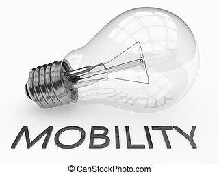 Mobility - lightbulb on white background with text under it...