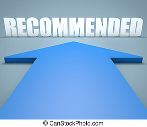 Recommended - 3d render concept of blue arrow pointing to...