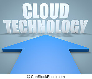 Cloud Technology - 3d render concept of blue arrow pointing...