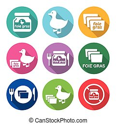 Foie gras, duck or goose flat desig - Vector icons set of...