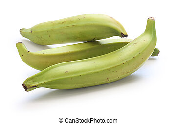 plantain banana on white background