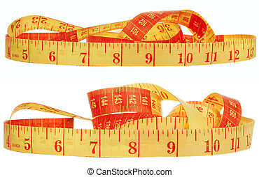 Measuring tape in orange color on a white background