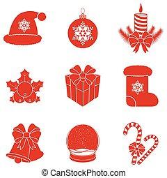 Vector Christmas silhouettes. - Set of 9 Christmas...