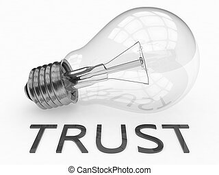Trust - lightbulb on white background with text under it 3d...