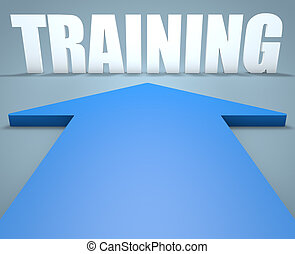 Training - 3d render concept of blue arrow pointing to text.