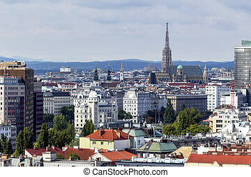 austria, vienna. skyline seen from an ferris wheel.
