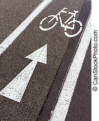 direction arrow for cyclists, symbol of direction, security,...