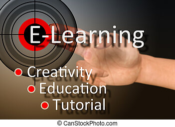 Learning concept - Hand touch on e-learning concept