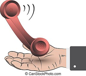 Contact us concept - Retro phone with her hand as a concept...