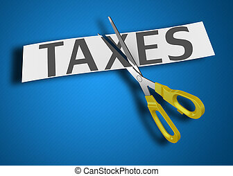 Income tax cut scissors as a concept