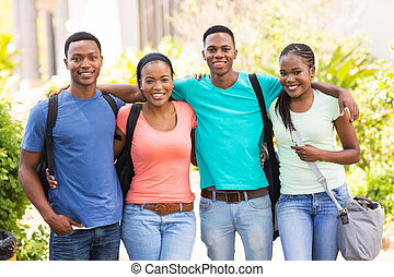 african american college friends on campus
