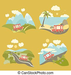 Summer vacation trip icons set - Set of vector flat style...