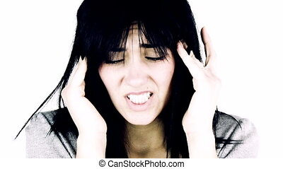 Woman suffering bad headache - Woman with strong migraine