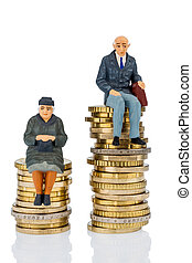 pensioners and pensioner on money stack - pensioners and...