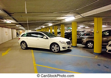 car badly parked in car park - in a park a car was bad and...