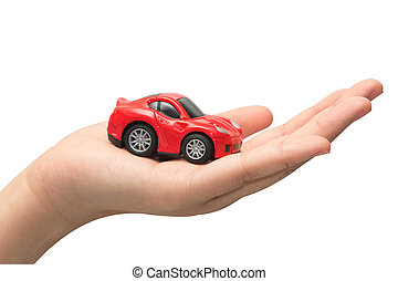 hand holding the model of car symbol photo for car purchase