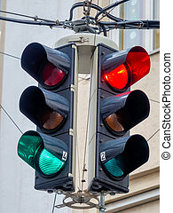 traffic light with red and green light