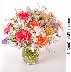 Beautiful Roses - Bouquet of beautiful multicolored roses, a...