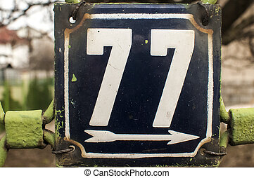 Weathered enameled plate number 77 - Weathered grunge square...