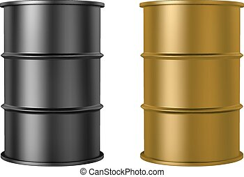 Oil barrels isolated on white - RGB vector illustration -...