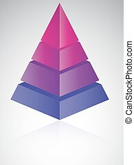 Four level pyramid - 3D looking vector illustration of a...