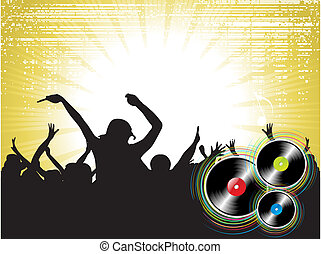 music theme - Cheering crowd at concert, musicians on the...