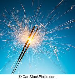 Fireworks sparklers - A group of Sparkler on blue...