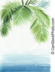 Palm beach resort - Tropical resort view with a palm....