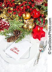 christmas table place setting candle light dinner -...