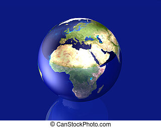 Glowing Globe - Europe y Africa - 3D rendered Illustration...