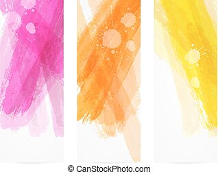 Watercolor brushed lines banners - Banner vertical templates...