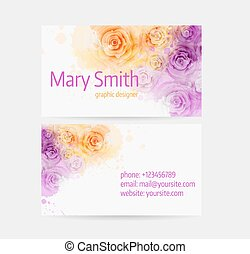 Business card template - front and back side Abstract floral...