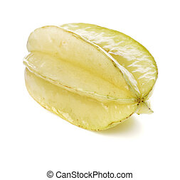 Carambola starfruit isolated on white with natural shadow