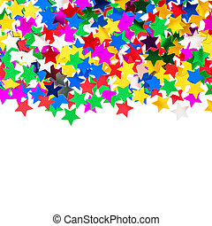 star shaped red, blue, green, gold confetti