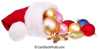 Santa hat and Christmas decorations
