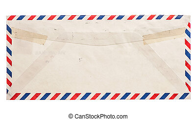 vintage grungy air mail envelope isolated on white