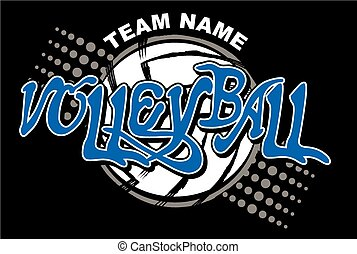 volleyball team design with volleyball background