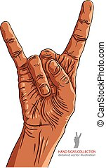 Rock on hand sign, rock n roll