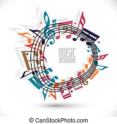 Colorful music background with clef and notes, music sheet...