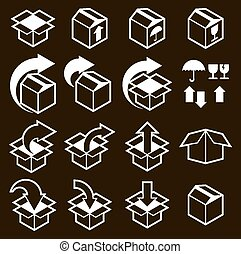 Packaging boxes icons vector set