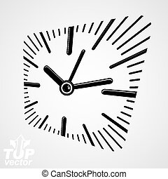 3d vector square wall clock with dial and an hour hand Time...