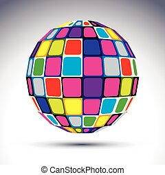 Vector dimensional modern abstract object, 3d disco ball...