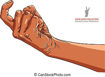 Come on hand sign, African ethnicity, detailed vector...